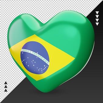 Miłość flaga brazylii palenisko renderowania 3d prawy widok
