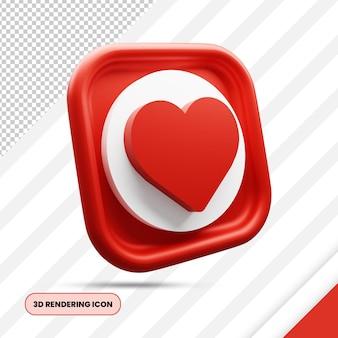 Miłość i ulubiona ikona renderowania 3d