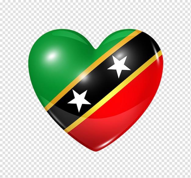 Miłość saint kitts i nevis symbol 3d ikona flagi serca na białym tle biały ze ścieżką przycinającą