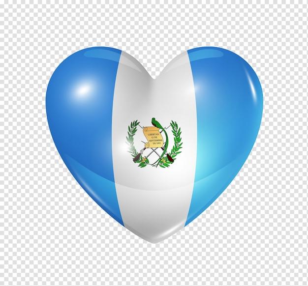 Miłość symbol gwatemali 3d ikona flagi serca
