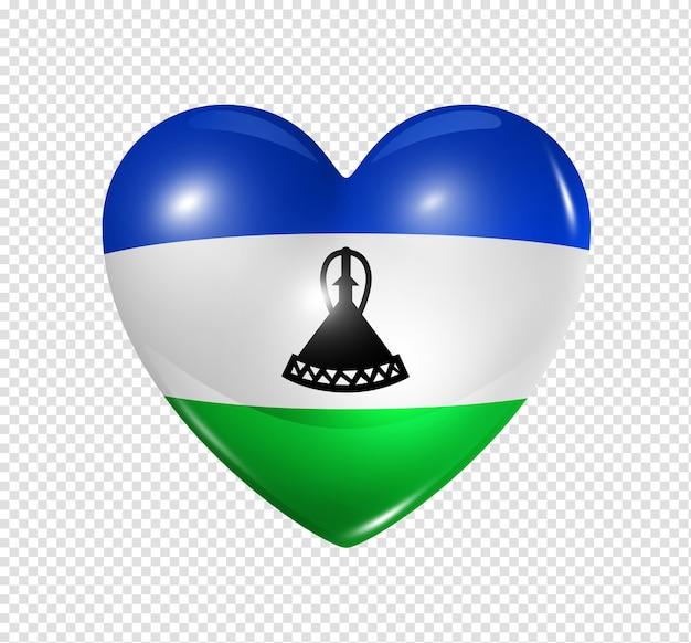 Miłość symbol lesotho 3d ikona flagi serca na białym tle biały ze ścieżką przycinającą