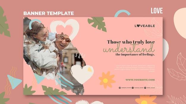 Miłość Szablon Transparentu Ze Zdjęciem Darmowe Psd