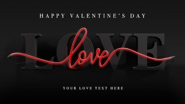 Miłość w makiecie renderowania 3d i neon na walentynki