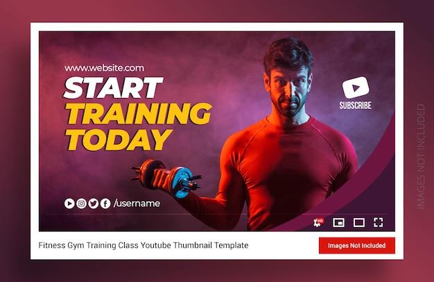 Miniatura kanału youtube z ćwiczeniami fitness i baner internetowy