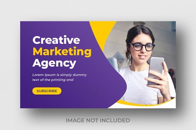 Miniatura wideo youtube dla kreatywnego biznesu marketingu cyfrowego
