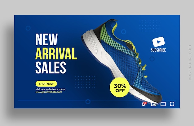 Miniatura youtube lub szablon banera internetowego sprzedaż butów produktu