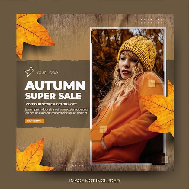 Minimalistyczna jesienna wyprzedaż mody instagram social media post feed
