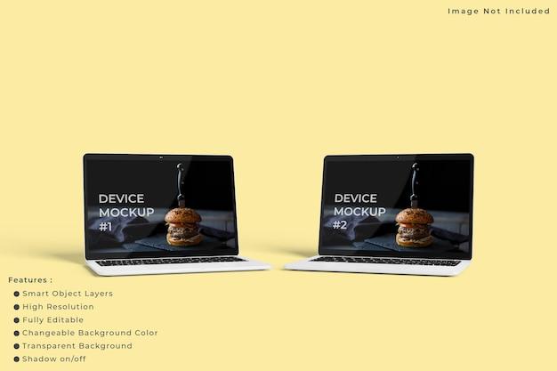 Minimalistyczna makieta ekranu laptopa z pastelowym kolorem tła