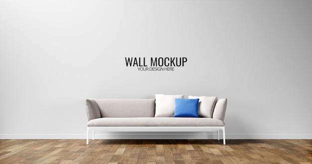 Minimalistyczna makieta ściany wewnętrznej z jasnoszarą sofą
