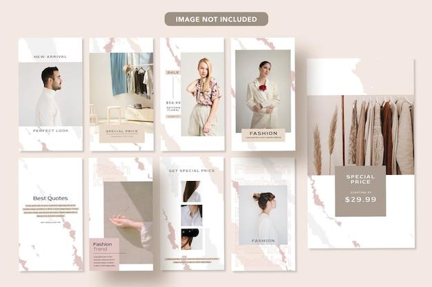Minimalistyczna moda w mediach społecznościowych promo projekt banera instagram post template story