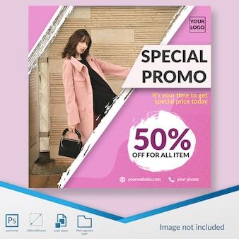 Minimalistyczna moda zniżki oferta kwadratowy baner lub szablon post instagram