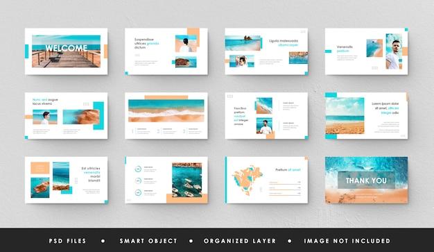 Minimalistyczna niebieska prezentacja slajd power point landing page