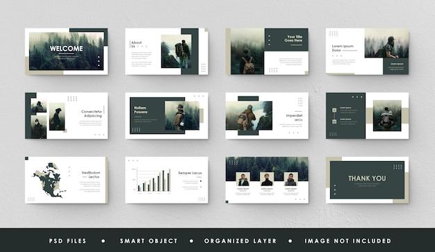 Minimalistyczna prezentacja slajd vi strona green forest power point landing page keynote