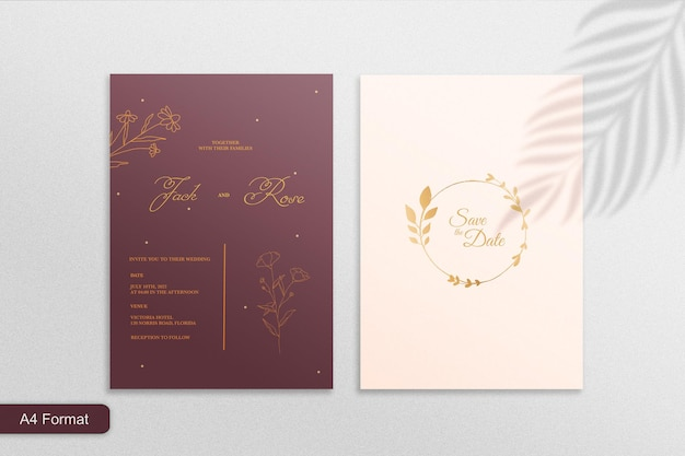 Minimalistyczne bordowe zaproszenie na ślub ze złotym botanicznym