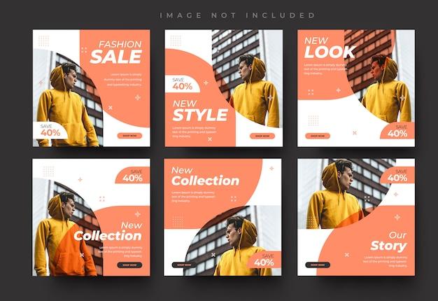 Minimalistyczne media społecznościowe instagram feed post i historie moda sprzedaż szablon transparent