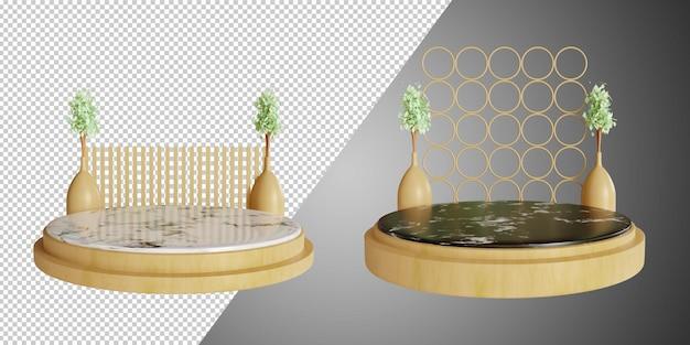 Minimalistyczne podium i trójwymiarowe podium z wyciętym ceramicznym marmurem