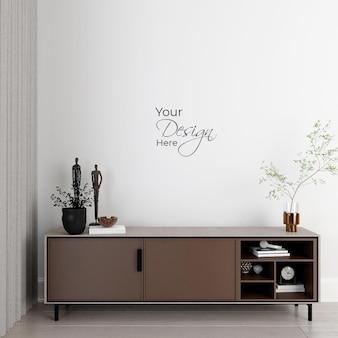 Minimalistyczne wnętrze salonu z kredensem na białej ścianie