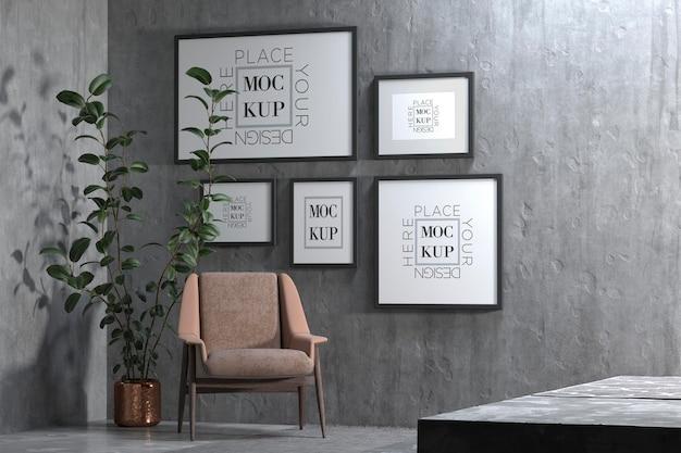 Minimalistyczne Wnętrze Salonu Z Makietą Fotela Z Czarnej Tkaniny I Ramkami Premium Psd