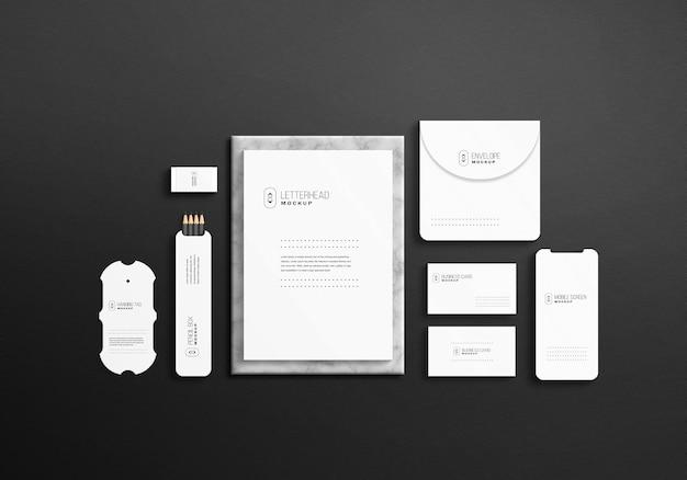 Minimalistyczny biały stacjonarny zestaw makieta psd