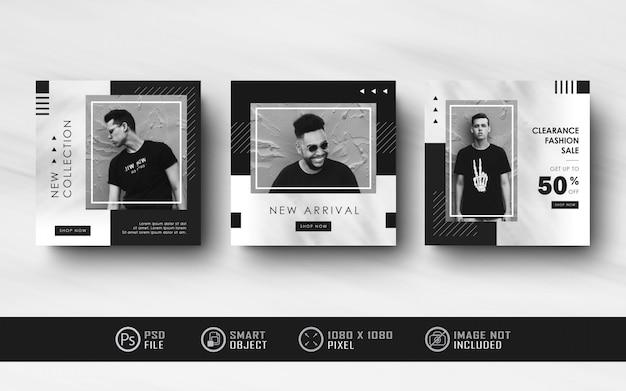 Minimalistyczny czarno-biały instagram social media kolekcja banerów postowych