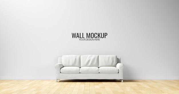 Minimalistyczny makieta ściany wewnętrznej z białą sofą