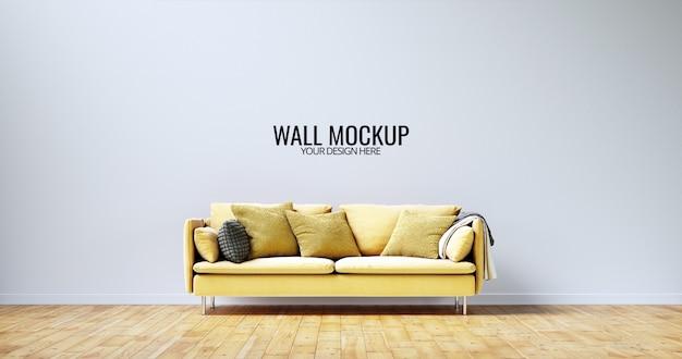 Minimalistyczny makieta ściany wewnętrznej z żółtą sofą