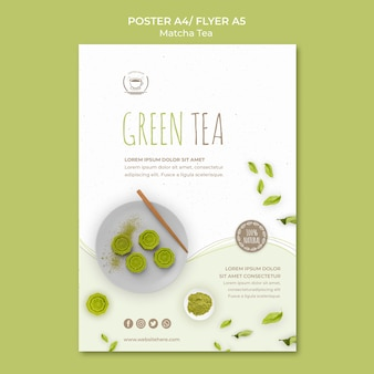 Minimalistyczny plakat szablon zielonej herbaty