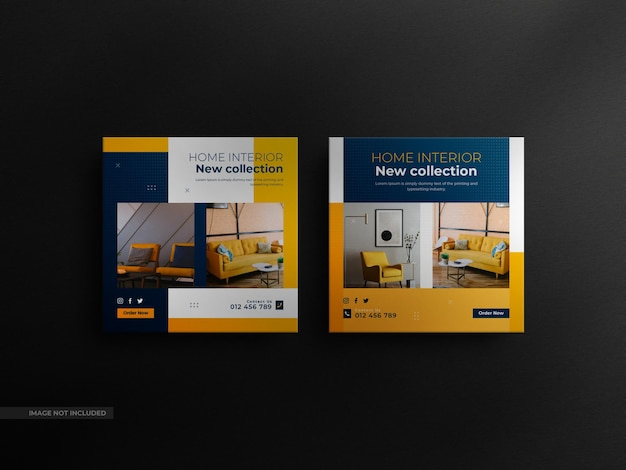 Minimalistyczny post na instagramie i baner mebli wewnętrznych square real z luksusową makietą