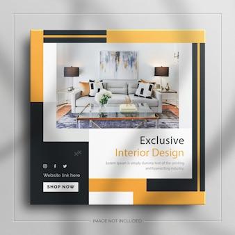 Minimalistyczny post na instagramie i kwadratowy baner mebli do wnętrz z luksusową makietą