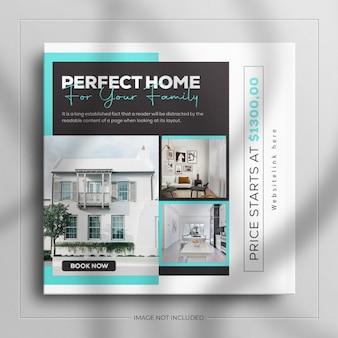 Minimalistyczny post na instagramie i kwadratowy baner z meblami do wnętrz nieruchomości