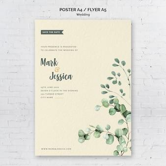 Minimalistyczny ślub plakat szablon