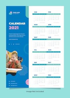 Minimalistyczny szablon kalendarza ściennego edukacji