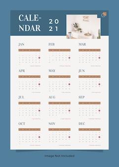 Minimalistyczny szablon kalendarza ściennego mebli