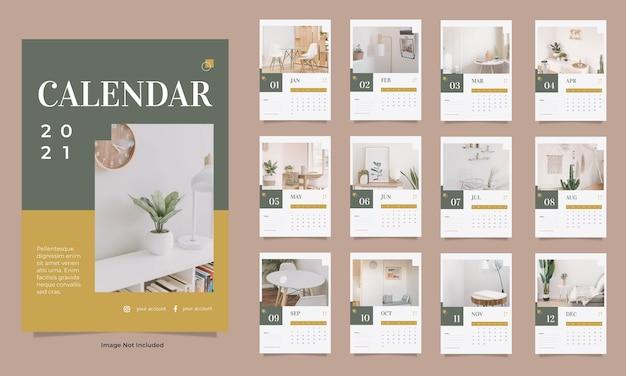 Minimalistyczny szablon kalendarza ściennego wnętrza