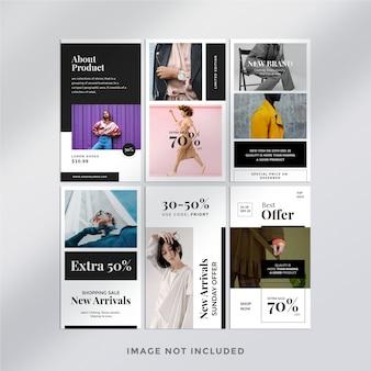 Minimalistyczny szablon pakietu historii na instagramie mody