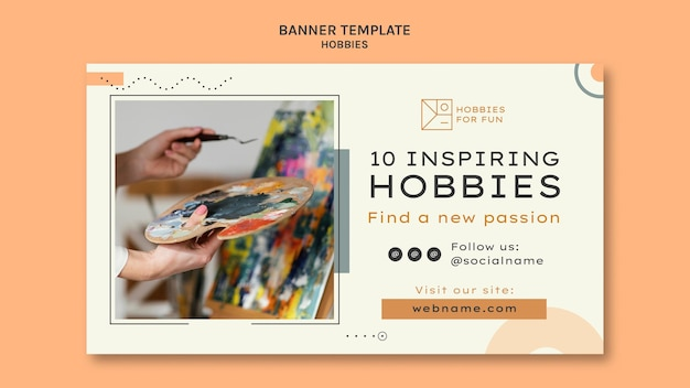 Minimalistyczny szablon poziomego banera hobby