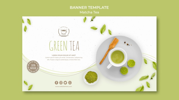 Minimalistyczny szablon transparent zielona herbata