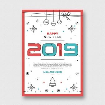 Minimalistyczny szablon ulotki nowego roku