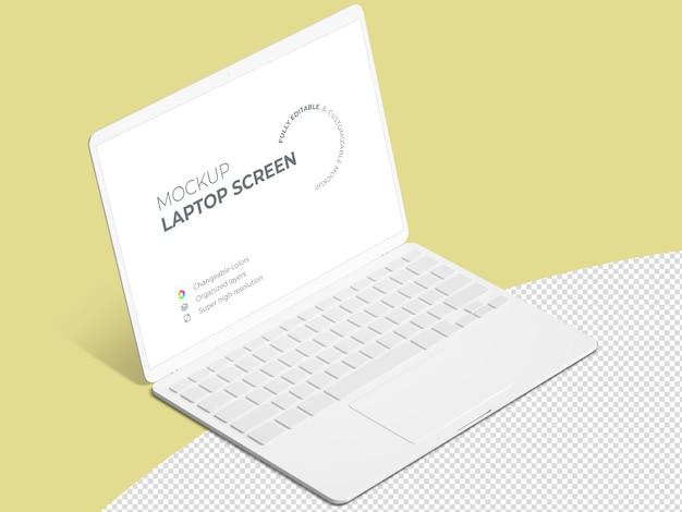 Minimalistyczny widok makiety ekranu laptopa szablon izometryczny