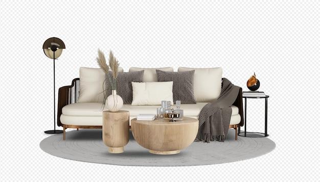 Minimalistyczny zestaw mebli dekoracyjnych w salonie w renderowaniu 3d