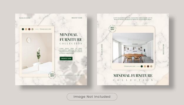 Minimalistyczny zestaw szablonów banerów do projektowania wnętrz na instagramie