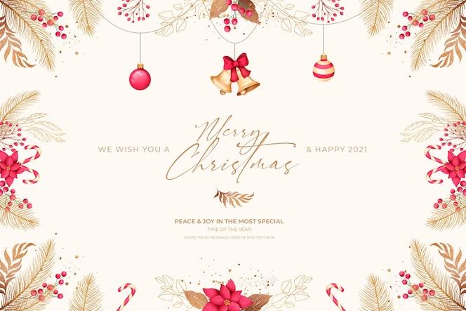 Minimalna kartka świąteczna z czerwonymi i złotymi ornamentami