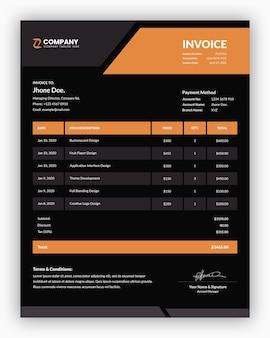 Minimalna korporacyjna ciemność z pomarańczowym szablonem faktury biznesowej
