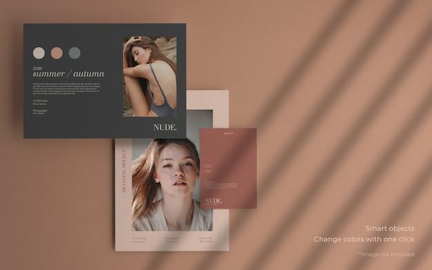 Minimalna makieta kolekcji broszur z miękkim cieniem