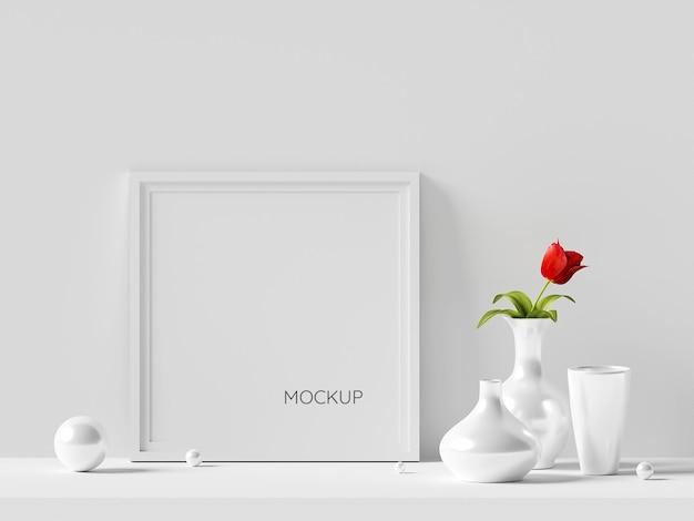 Minimalna makieta ramki na zdjęcia z rośliną