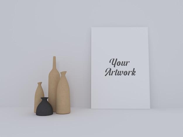 Minimalna makieta ramki plakatowej z nowoczesnymi wazonami