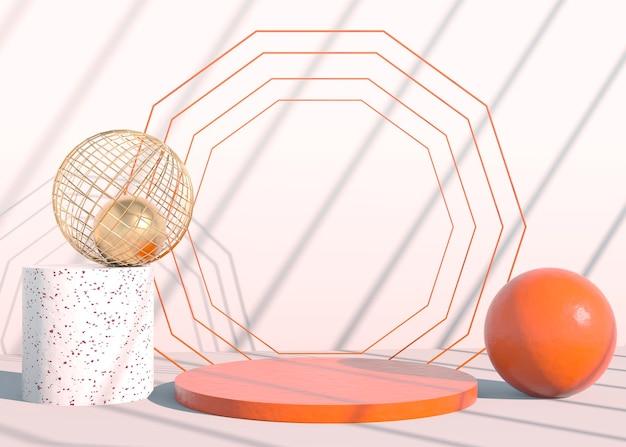 Minimalna scena z geometrycznymi formami, podium w kremowym tle z cieniami. scena prezentująca produkt kosmetyczny, gablotę, witrynę sklepową, gablotę. 3d