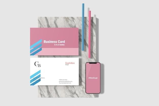 Minimalna wizytówka i makieta smartfona