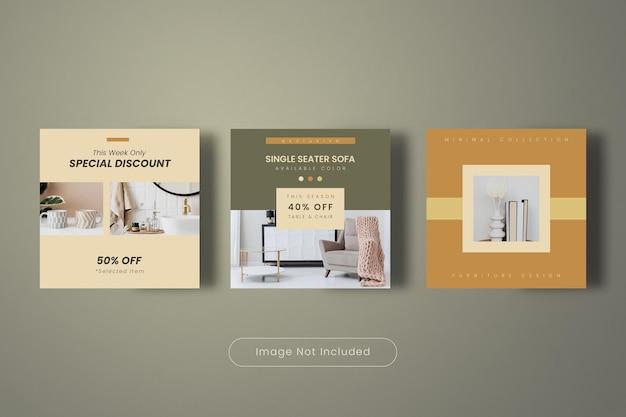 Minimalne meble domowe kolekcja szablonów postów na instagram