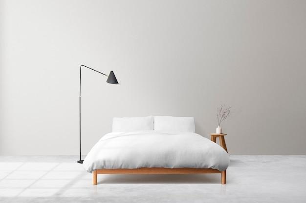 Minimalne wnętrze sypialni na ścianie psd